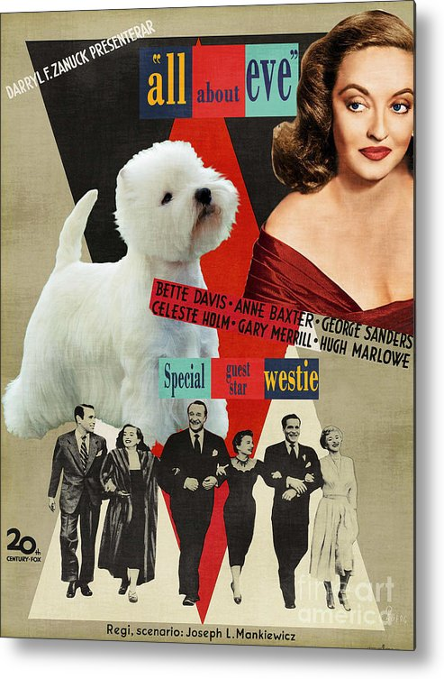 Westie Metal Print featuring the painting West Highland White Terrier Art Canvas Print - All About Eve Movie Poster by Sandra Sij