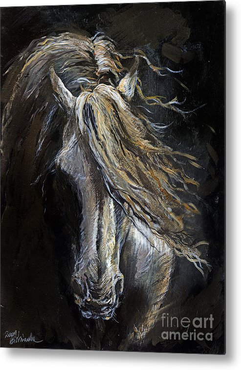 Horse Metal Print featuring the painting White Ghost by Angel Ciesniarska