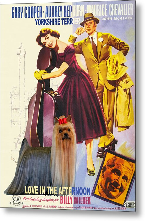 Yorkshire Terrier Metal Print featuring the painting Yorkshire Terrier Art Canvas Print - Love In The Afternoon Movie Poster by Sandra Sij