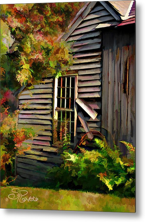 Shed Metal Print featuring the painting Shed by Suni Roveto