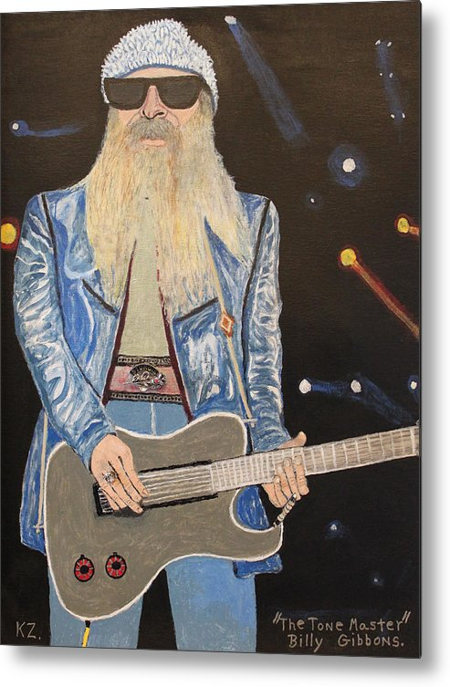 Billy Gibbons Metal Print featuring the painting The Tone Master.billy Gibbons. by Ken Zabel