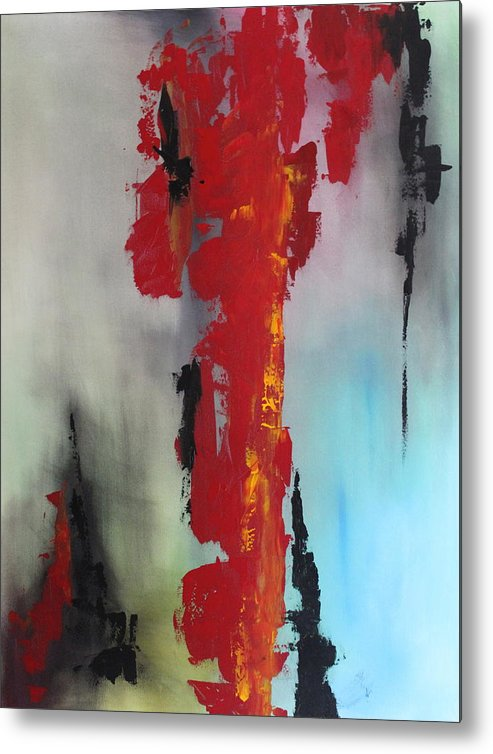 Original Metal Print featuring the painting Rojo by Eric Chapman