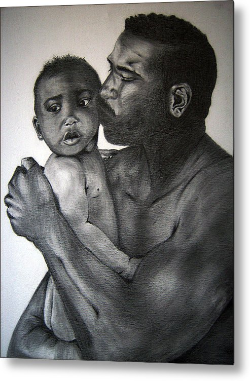 Drawing Metal Print featuring the drawing A Fathers Love by Monique Mcknight