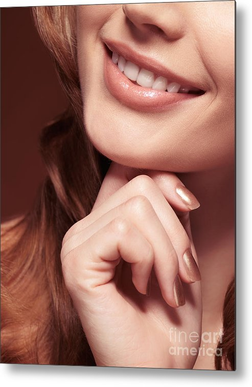 Mouth Metal Print featuring the photograph Beautiful Young Smiling Woman Mouth by Oleksiy Maksymenko