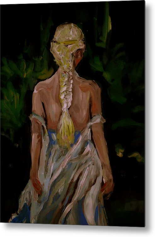 Girl Metal Print featuring the painting Blue Dress by Adam Kissel