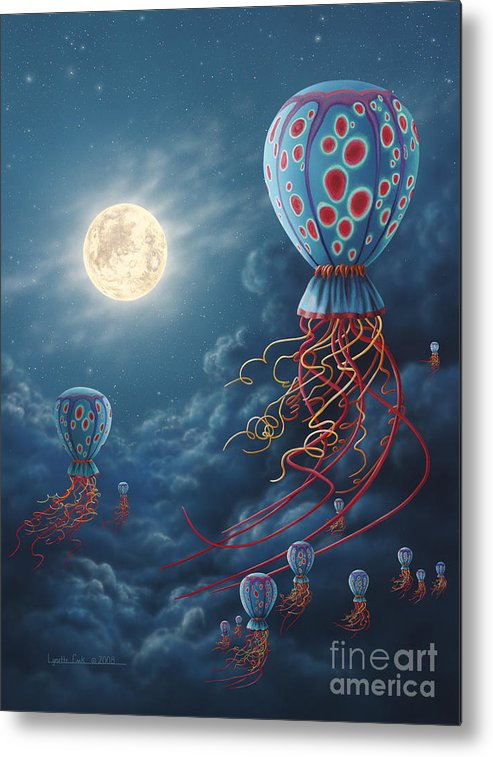Lynette Cook Metal Print featuring the painting Blue Floaters by Lynette Cook