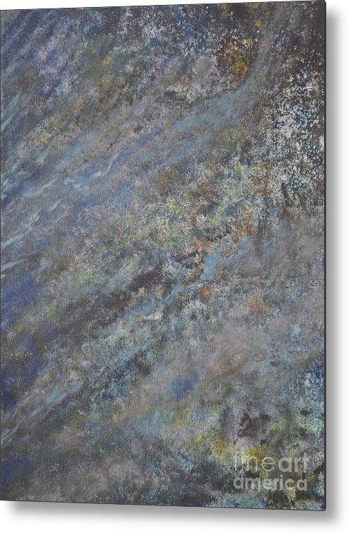 Blue Abstract Metal Print featuring the painting Blue Nebula #2 by Penny Neimiller