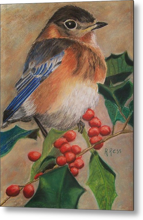 Bird Metal Print featuring the painting Bluebird And Berries by Roberta Ress