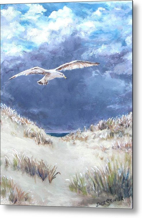 Seagull Metal Print featuring the painting Cloudy With A Chance Of Seagulls by Jack Skinner