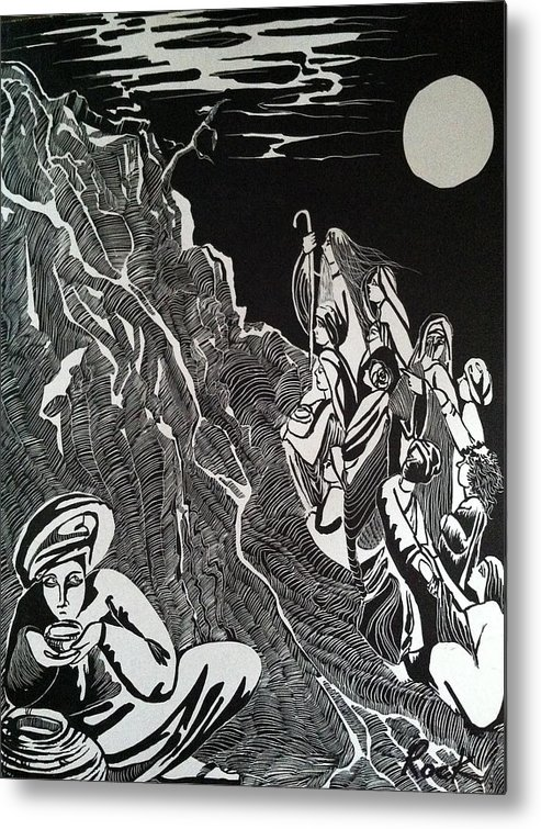 Bible Madman Black White Moon Metal Print featuring the drawing Don't Drink The Water by Jackie Rock