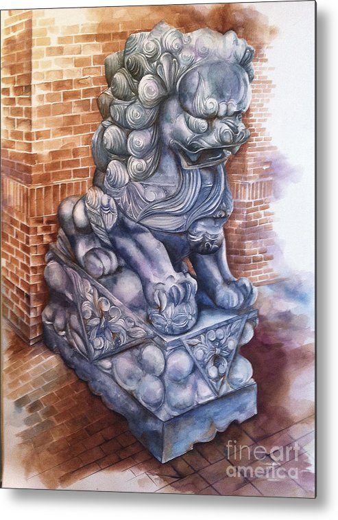 Foo Dog Metal Print featuring the painting Guardian by Elizabeth York