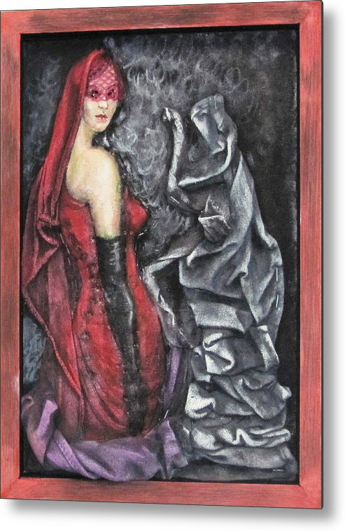 Surrealistic Metal Print featuring the mixed media Her And The Ghost by Emilian Pop
