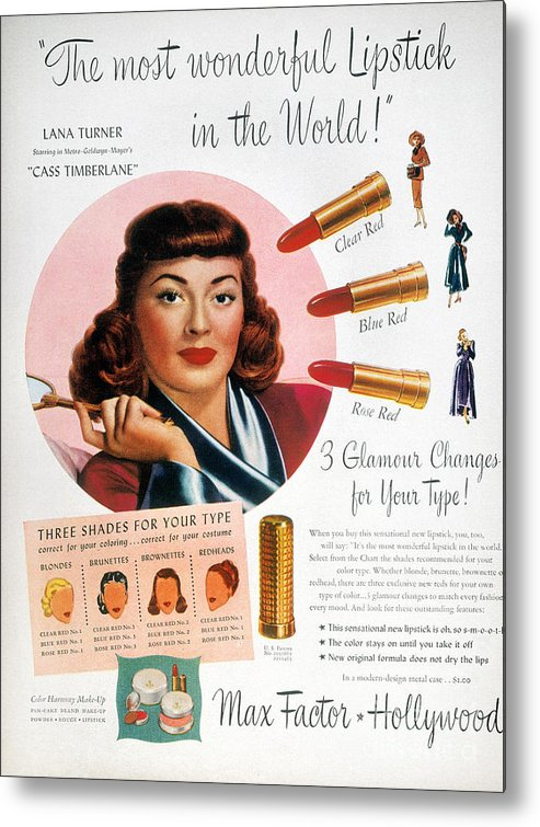 1948 Metal Print featuring the photograph Max Factor Lipstick Ad by Granger