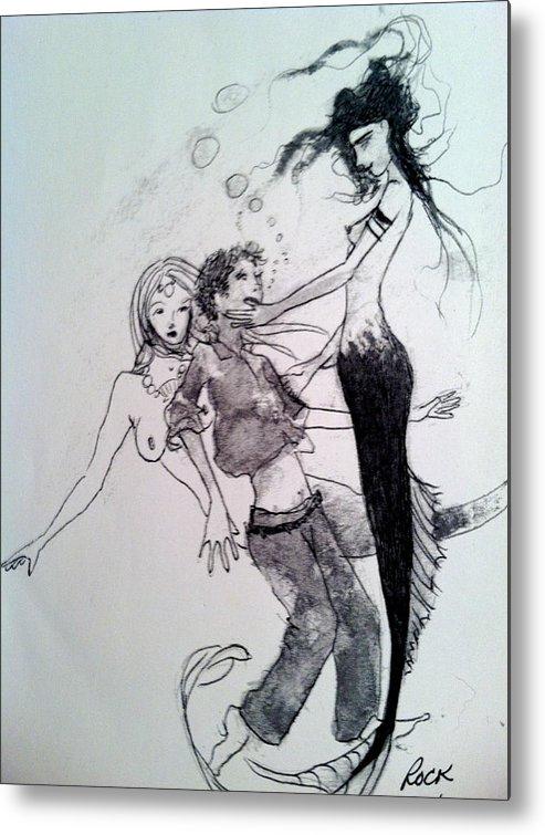 Mermaids Sailor Sketch Metal Print featuring the drawing Mermaids by Jackie Rock