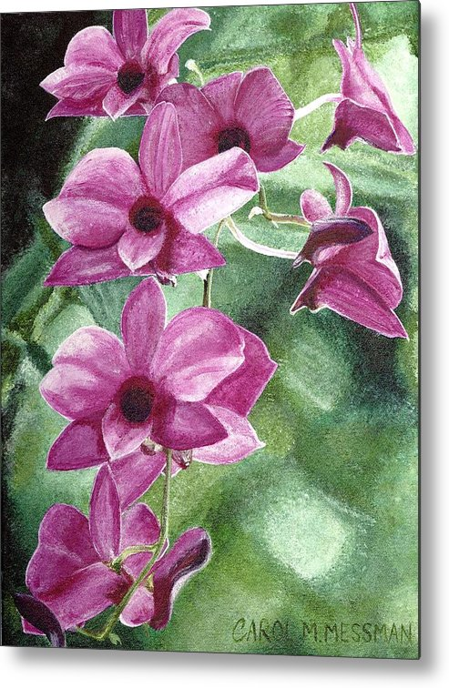 Orchid Metal Print featuring the painting Orchid In The Shadows by Carol Messman Steele