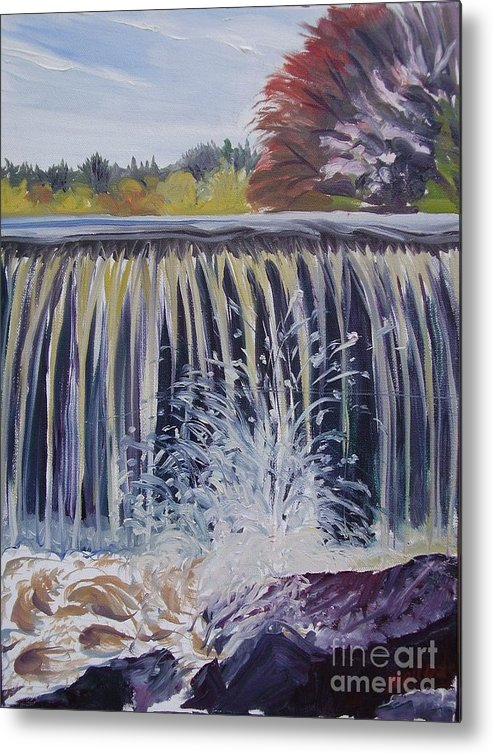Landscape Metal Print featuring the painting Over The Dam by Nelson Dale