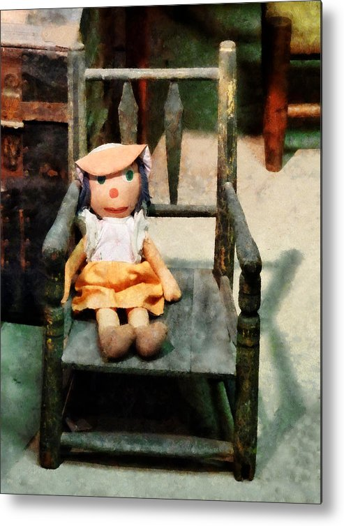 Doll Metal Print featuring the photograph Rag Doll In Chair by Susan Savad