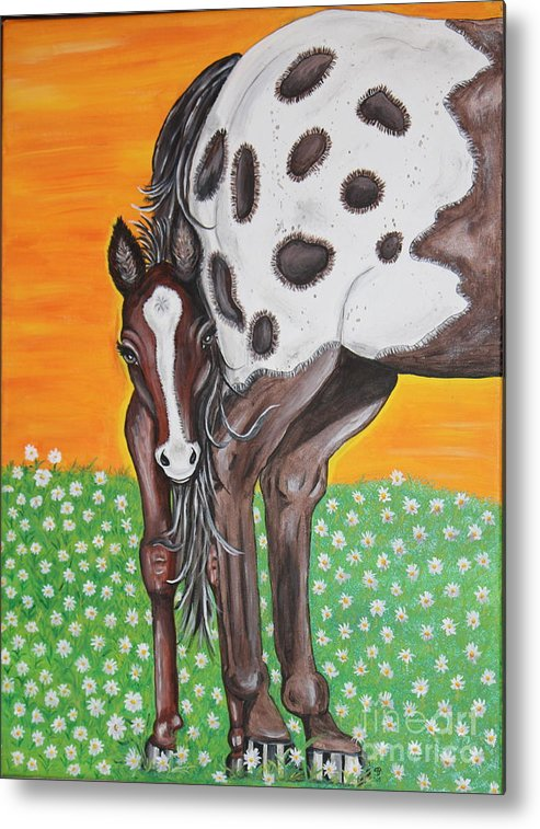 Horse Metal Print featuring the painting Shy Baby by Sheri LaBarr