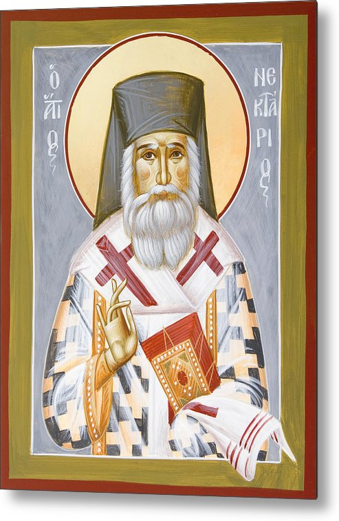 Saint Nektarios Of Aigina Metal Print featuring the painting St Nektarios by Julia Bridget Hayes