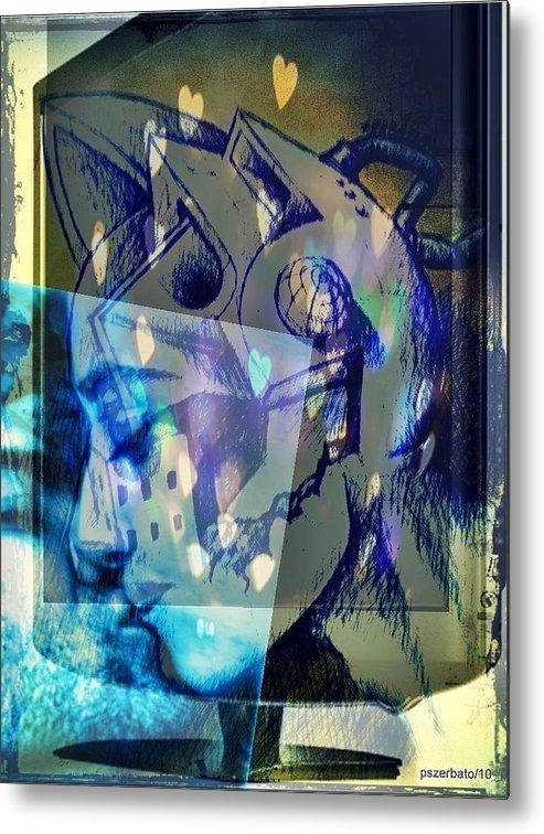 Physical Sensation Metal Print featuring the digital art Virtual Kiss 1 by Paulo Zerbato