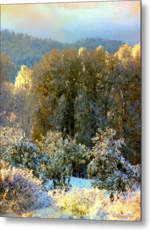 Swirls Of Snow Crystals Mingle With Leaves Blown By Winter�s Breath Metal Print featuring the photograph First Snow And Bosque Glow by Anastasia Savage Ealy