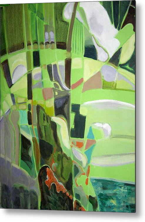 Abstract Metal Print featuring the painting Natura Aroma by Therese AbouNader