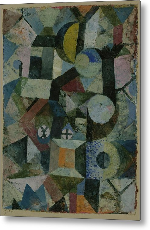 Paul Klee Composition With The Yellow Half-moon And The Y Metal Print featuring the painting Composition With The Yellow Half-moon And The Y by Paul Klee