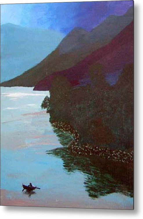 Landscape Metal Print featuring the painting Lake By The Mountains by Natalee Parochka