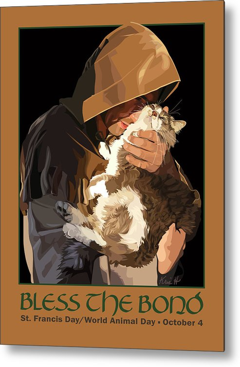 Animal Metal Print featuring the digital art St. Francis With Cat by Kris Hackleman