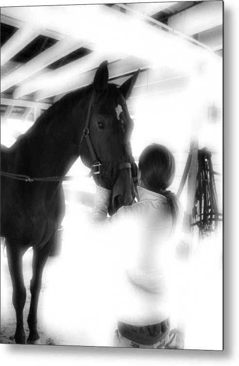 Horse Metal Print featuring the photograph Tacking Up by Donna Thomas