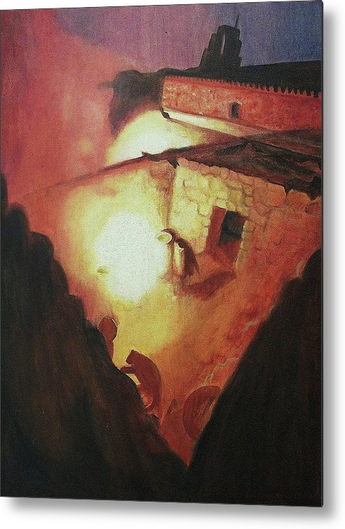 Greek Metal Print featuring the painting 18th Century Greek Church by Suzanne Marie Leclair