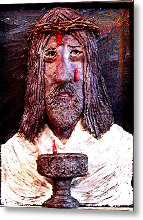 God Metal Print featuring the sculpture 3 Red Drops by Richard Hubal
