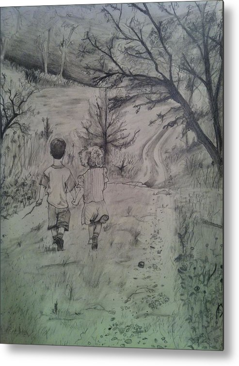 Path Metal Print featuring the drawing 92 by Mike Eliades