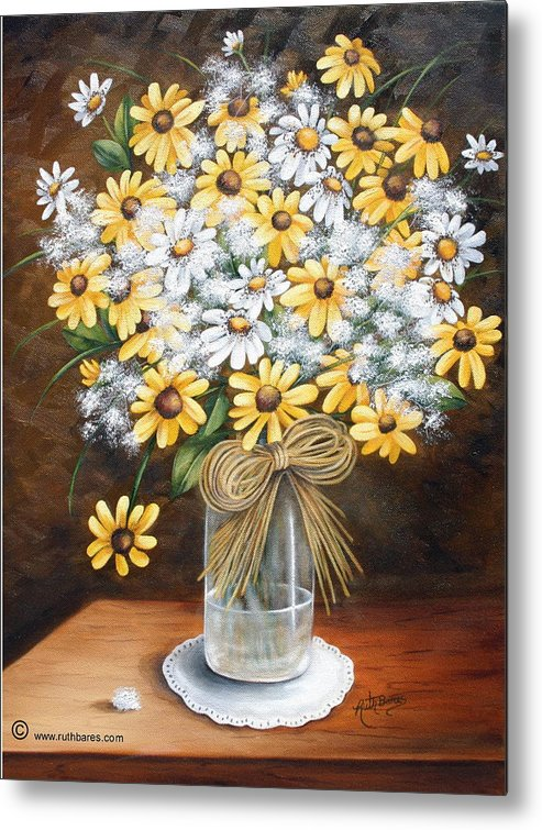 Still Lift Metal Print featuring the painting A Country Bouquet by Ruth Bares
