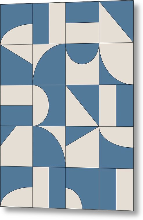 Blue Metal Print featuring the digital art Abstract Puzzle by Sandi Hauanio