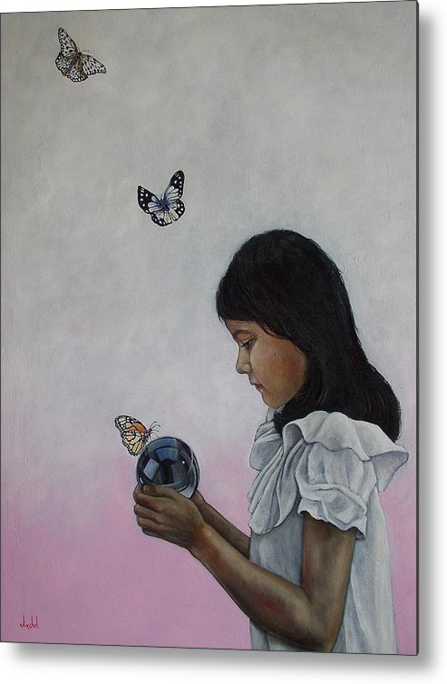 Butterflies Metal Print featuring the painting Alexandria Of The Butterflies by Ixchel Amor