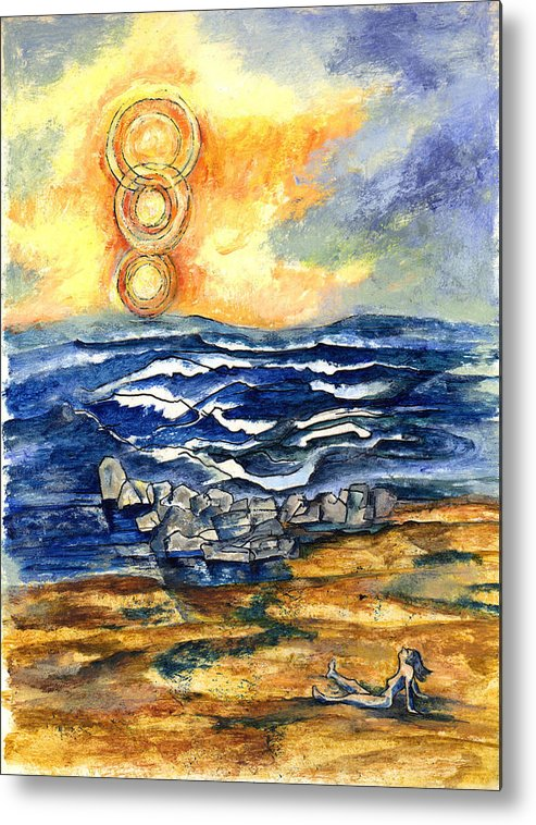 Seascape Metal Print featuring the painting Alone At The Beach by Lily Hymen