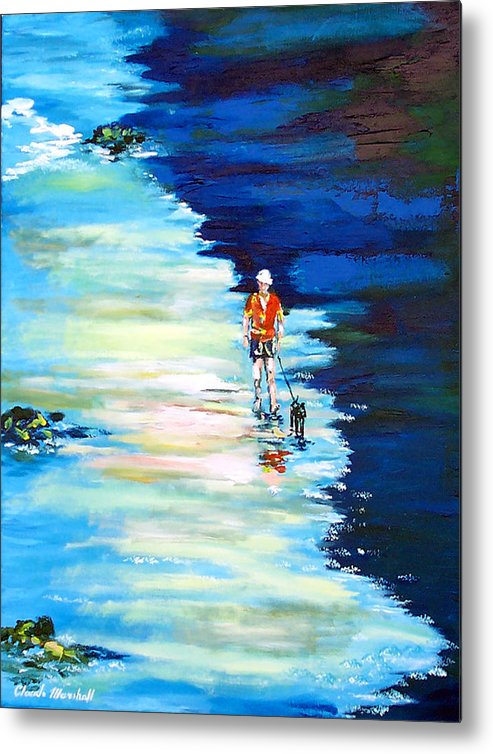 Art Metal Print featuring the painting Along The Beach by Claude Marshall
