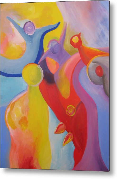 Abstract Metal Print featuring the painting An Interdimensional Link by Peter Shor