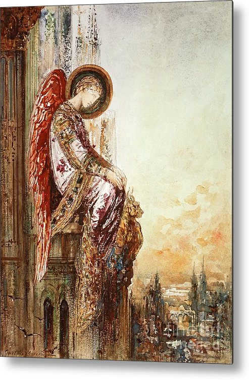 Watercolor Metal Print featuring the painting Angel Traveller by Gustave Moreau