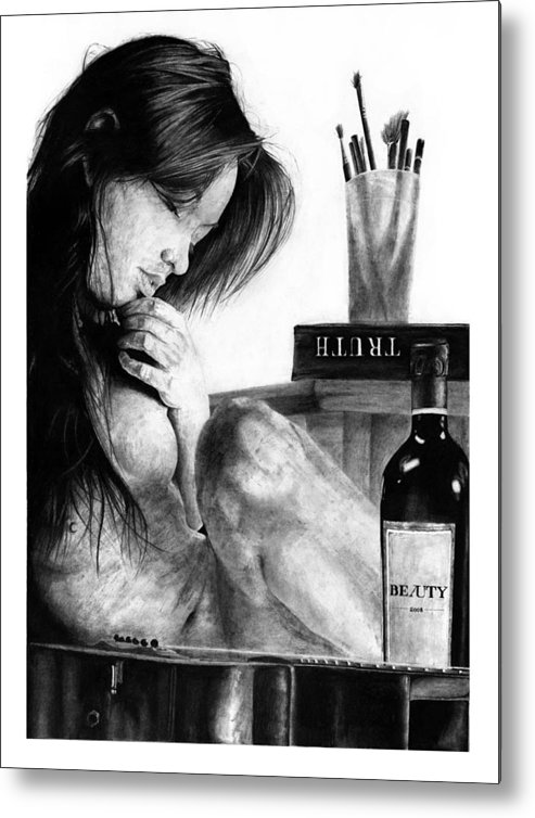 Portrait Girl Woman Nude Naked Beautiful Observation Still Psychology Mind Inner Self Reflection Truth Beauty Black Anima Metal Print featuring the drawing Anima by Priscilla Vogelbacher