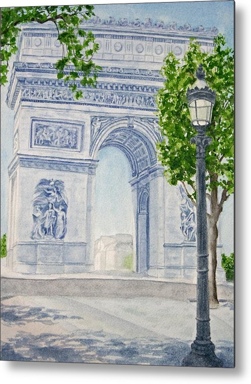 Architecture Metal Print featuring the painting Arc De Triomphe by Monika Degan
