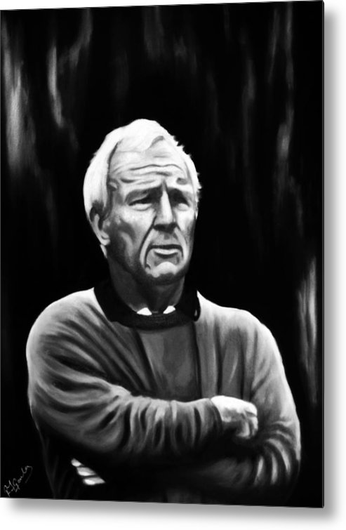 Portrait Golf Arnold Palmer Iconic Black And White Sports Metal Print featuring the painting Arnie by Richard Garnham