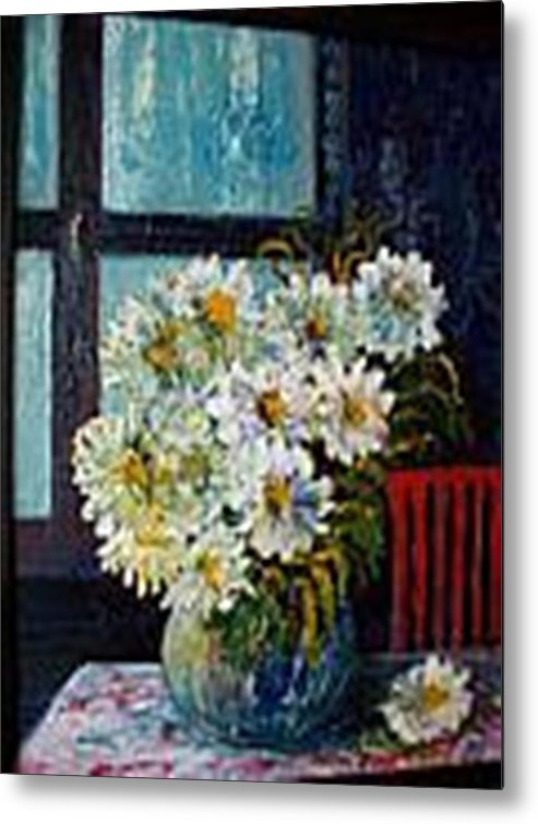 By The Window Metal Print featuring the painting At Home by Carol P Kingsley