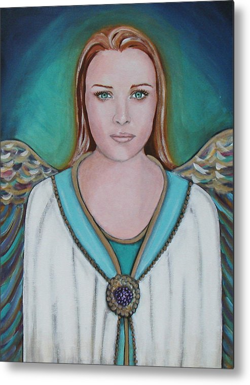 Angel Metal Print featuring the painting Avenging Angel by Christy Sobolewski