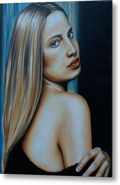 Woman Metal Print featuring the painting Being Emma, Nude Portrait Art by Laurel Moore