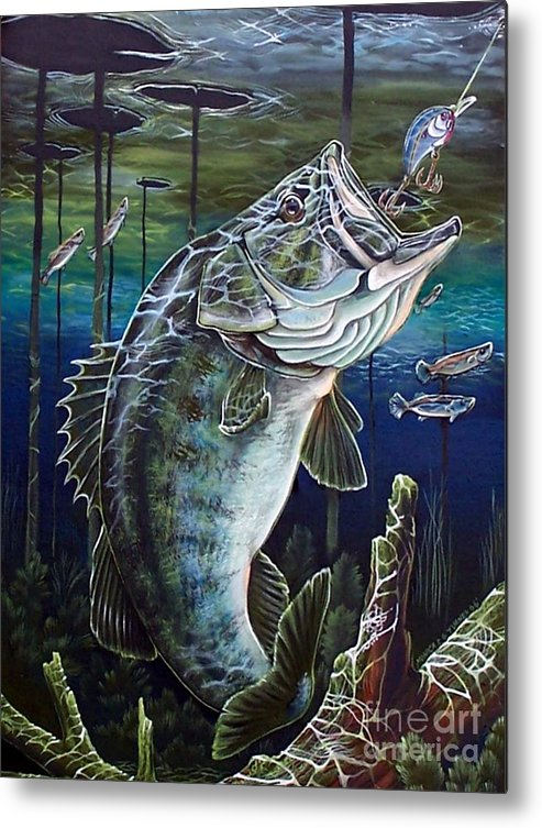 Bass Metal Print featuring the painting Beneath The Surface by Monica Turner