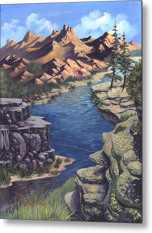 Landscape Metal Print featuring the painting Birds Eye View by Kevin L Brooks