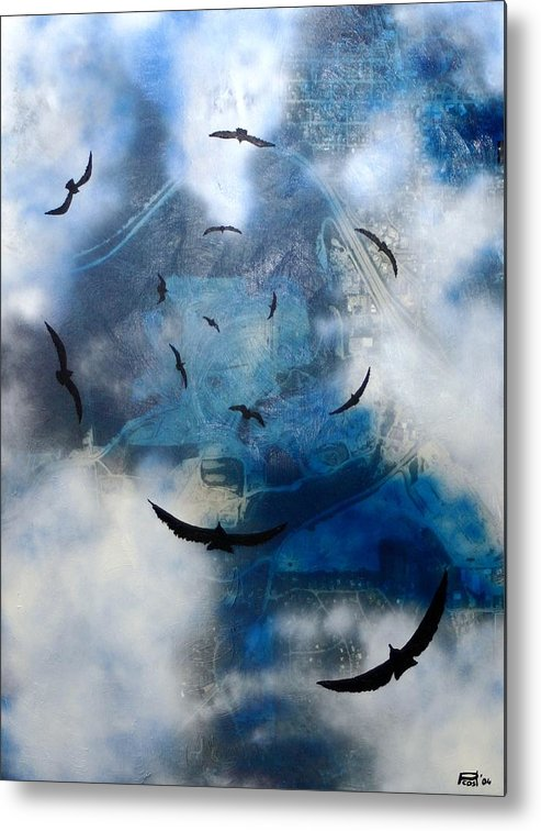 Landscape Birds Apocalypse Ominous Surreal Metal Print featuring the painting birds of apocalypse VI by Poul Costinsky