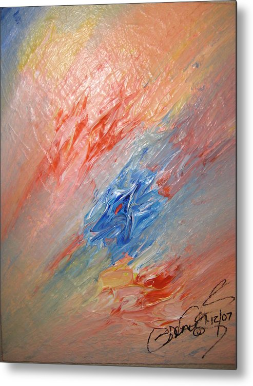 Abstract Metal Print featuring the painting Bliss - B by Brenda Basham Dothage